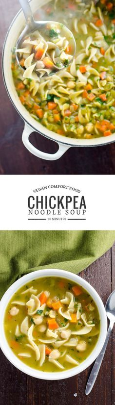 Soup Chickpea noodle soup is vegan comfort food at its finest. Warming, easy to make and ready in 30 minutes.Chickpea noodle soup is vegan comfort food at its finest. Warming, easy to make and ready in 30 minutes. Veggie Recipes, Whole Food Recipes, Soup Recipes, Vegetarian Recipes, Cooking Recipes, Healthy Recipes, Oats Recipes, Recipies, Vegetarian Cooking