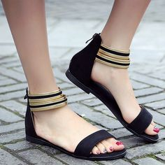 Casual Suede and Ankle-Wrap Design Sandals For Women