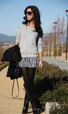 sweater and skirt with tights and boots. Love love