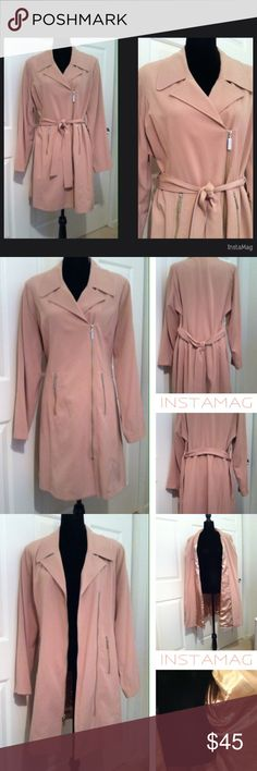 """Kris Jenner Collection Trench Coat/Dress Super excellent condition – only worn a few times.  Absolutely no flaws, stains, marks, etc.  Bought through QVC, this was styled either as a trench coat or dress. Fully lined with beautiful champaign colored satin, lightly padded shoulders, 2 side silver zipper pockets and slightly off-center silver zipper front. It is just below the knee on me. NOTE-I sized as XL as her line ran on the larger side. Excellent quality!   Armpit to armpit – 26""""  Collar…"""