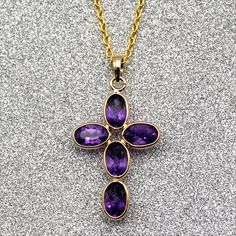 Details about  /14K SOLID GOLD NECKLACE WITH NATURAL NOT ENHANCED AMETHYST PENDANT