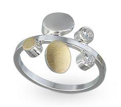 """Petal Ring""  Gold, Silver & Stone Ring"