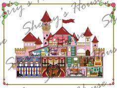 Castle Cross Stitch Pattern/ Wall Art by SherrysHouse on Etsy