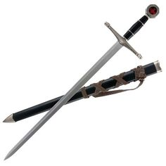 """Black Prince Sword with Sheath by Tomahawk. $18.59. This fine replica is patterned after a medieval broadsword and will be enjoyed by collectors and reenactors alike!  This item features a stainless steel 17"""" blade and offers a cast metal handle with an ornate guard and pommel along with a black composite grip.  This sword measures 22 1/2"""" overall and includes a coordinating black sheath.  Tomahawk, XL1122.. Save 36% Off! Ninja Sword, Metal Casting, Blade, It Cast, Stainless Steel, Sports, Martial Arts, Weapons, Medieval"""