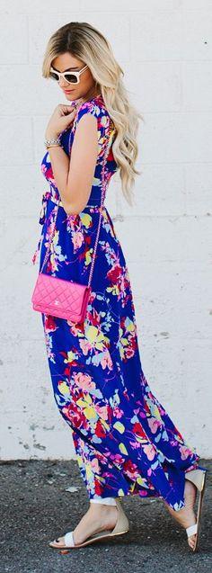Navy Floral Maxi Dress Streetstyle