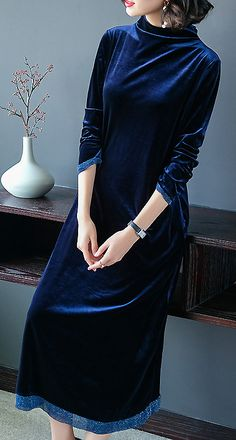 Casual Stand Collar Long Sleeve Velour Maxi Dress