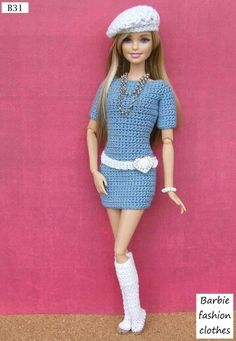 Barbie dress - No pattern Crochet Doll Dress, Crochet Barbie Clothes, Knitted Dolls, Crochet Toys, Barbie Clothes Patterns, Clothing Patterns, Fashion Dolls, Fashion Outfits, Fashion Clothes