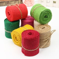 New Sewing Fabric 2M Colored Jute Burlap Hessian Ribbon Trims Tape Rustic Crafts DIY Wedding Party Decoration 60MM Width #Affiliate
