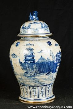 Photo of Single Nanking Pottery Ginger Jar Blue White Chinese Porcelain Vase