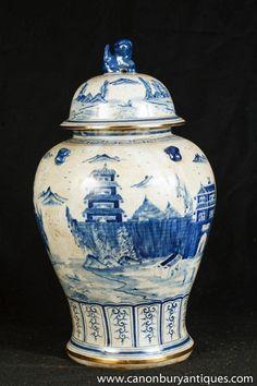 Photo of Single Nanking Pottery Ginger Jar Blue White Chinese Porcelain Vase