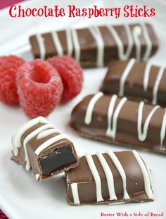 Chocolate Raspberry Sticks are made with a delicious jellied raspberry filling dipped in melted chocolate – a favorite holiday candy! Chocolate Raspberry Sticks are fun to make and are even more delic Raspberry Recipes, Raspberry Filling, Raspberry Extract, Raspberry Popsicles, Raspberry Cobbler, Raspberry Cordial, Raspberry Punch, Raspberry Cocktail, Raspberry Preserves