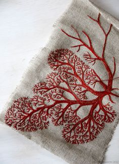Red Tree II by Yumiko Higuchi (site in Japanese). Lovely embroidery.