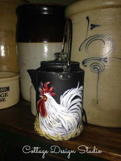 rooster campfire coffee pot vintage by CottageDesignStudio on Etsy hand painted decor,,whimsical rooster, aluminum coffee pot , rooster painting,