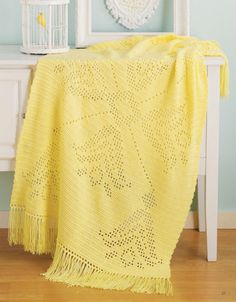 Picture of Filet Afghans ~ Glowing yellow with fringe