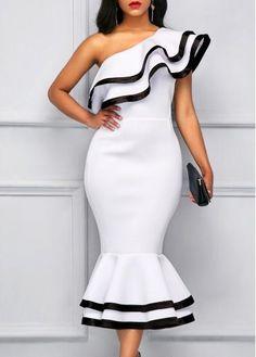 rotita.com - unsigned Peplum Hem Contrast Binding One Shoulder Sheath Dress - AdoreWe.com