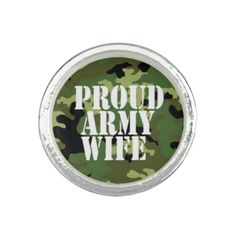 Proud Army Wife Camouflage Ring WanderingGypsyGiftShop.com