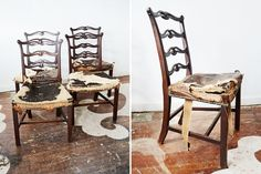 Antique set of four ladder-back dining chairs. A lovely woman brought these to our shop -- she said they belonged to her great-grandparents. She believed the chairs to be from England and approximately 200 years old! What we know for sure is the original horsehair & leather upholstery tells us that this set has been in the world and in use for a loooong time. Such a pretty set, and in excellent condition (aside from the original upholstery).    $975.00 to purchase the set, as shown    $95.00…