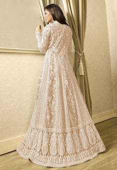 Abaya Style 12207 Embroidered Net Abaya Style Suit in Fawn Indian Gowns Dresses, Pakistani Bridal Dresses, Net Dresses, Designer Anarkali Dresses, Designer Dresses, Kurta Designs Women, Blouse Designs, Indian Designer Outfits, Indian Outfits
