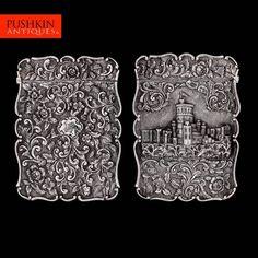 antique 19thc victorian solid silver castle top card case birmingham c1844