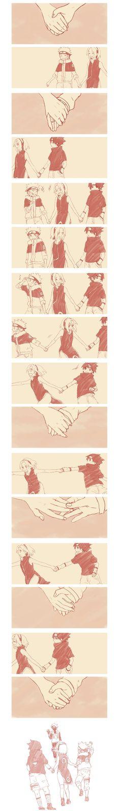 Sasuke ne lâchera jamais la main de sakura