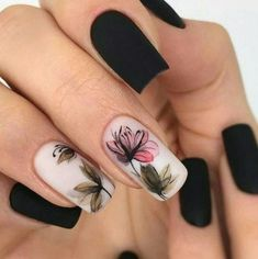 Classy Nail Designs, Black Nail Designs, Nail Art Designs, Nails Design, Unique Nail Designs, Floral Designs, Coffin Nails Matte, Cute Acrylic Nails, Floral Nail Art