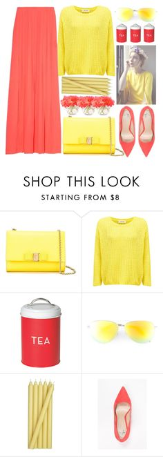 """""""Spring Coral Maxi Skirt + Sweater"""" by jiabao-krohn ❤ liked on Polyvore featuring Salvatore Ferragamo, American Vintage, Dot & Bo, Victoria Beckham, Crate and Barrel, Anna Field, yellow, coral, maxiskirt and pointytoe"""