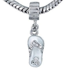 Pugster White Beach Sandal Dangle Bead Pandora Chamilia Biagi Charm Compatible $15.11