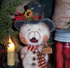 Primitive-Frosty-Snowflake-Christmas-Ornie-7-Snowman-Doll-Vtg-Pattis-Ratties