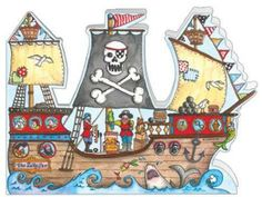 Pirate Ship - Boy's birthday cards from Phoenix Trading  £1.75 per card or £1.40 when buying 10 or more.  Children, Children's birthday cards