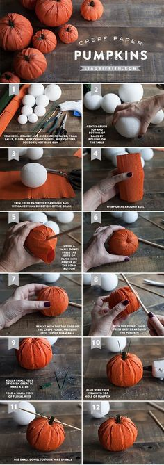 Crepe Paper Crafting - Fall Pumpkins These Pumpkins Are Just ~ krepppapier basteln - herbst kürbisse diese kürbisse sind gerecht ~ ~ Tree thanksgiving crafts, With Pinecones thanksgiving crafts, thanksgiving crafts Homemade Crepe Paper Crafts, Paper Crafting, Diy Paper, Crepe Paper Decorations, Fall Paper Crafts, Spring Crafts, Crepe Paper Flowers, Diy Pumpkin, Paper Pumpkin