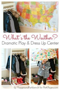 Weather Dramatic Play Dress-Up Activity - Pre-K Preschool Activities What's the Weather? Dramatic Play Dress Up Center ideas for your preschool classroom. Perfect for a weather theme! Dramatic Play Themes, Dramatic Play Area, Dramatic Play Centers, Preschool Themes, Preschool Classroom, In Kindergarten, April Preschool, Daycare Themes, Preschool Learning