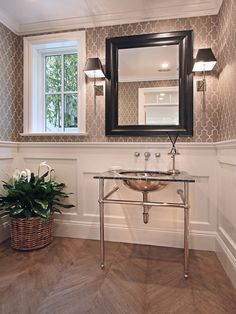 Neutral yet graphic gray wallpaper design. Perfect w/ wainscotting and in a smaller room like a bathroom or powder room.  Front hallway.