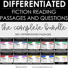 Differentiated Reading Passages and Questions (FICTION) - All Reading Strategies Perfect for grades 3 - 6 A bundle for the entire year! This bundle contains over 300 differentiated reading passages as well as questions and answer Close Reading Strategies, Reading Skills, Citing Text Evidence, Opinion Writing Prompts, Details Quotes, 3rd Grade Classroom, School Classroom, Reading Comprehension Passages, Context Clues