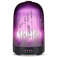 Aromatherapy Essential Oil Diffuser Glass Fragrance Ultrasonic Cool Mist Humidifier with 7 Color LED Lights and Waterless Auto Shut-off 4 Timed Settings For Home Office Yoga Spa Baby : HEUNG HOI Aroma Essential Oil, Essential Oil Diffuser, Massage, Ultrasonic Cool Mist Humidifier, Lumiere Led, Purple Home, Stress, Relax, Luz Led