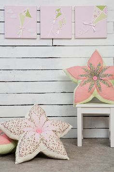 Baby girl nursery art, Green and pink kites. Flower pillow shabby chic girl room decor by Nuppi