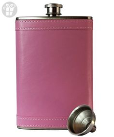 8oz Stainless Steel Primo 18/8 #304 Pink PU Leather Premium/Heavy Duty Hip Flask Gift Set - Includes Funnel and Gift Box (*Amazon Partner-Link)