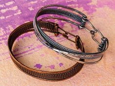 wire weaving bangles by Sarah Thompson - from Fixing Wire Jewelry Mistakes: How to Bounce Back from Tool Marks, Hard or Broken Wires, and Go with the Flow - Jewelry Making Daily
