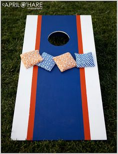 A perfect lawn game addition for a Broncos Themed wedding at Chatfield Botanic Gardens