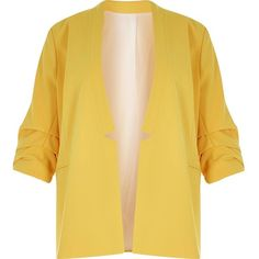 River Island RI Plus yellow ruched sleeve blazer ($110) ❤ liked on Polyvore featuring outerwear, jackets, blazers, coats & jackets, plus size clothing, women, yellow, beige blazer, river island jacket and plus size blazer jacket