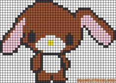 Free Kawaii Bunny Hama Perler Bead Pattern or Cross Stitch Chart