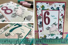 Crafting With Angels: Come & Stamp Along Club - April 2018   Myth & Magic Bundle, Unicorn Birthday Card, Large Numbers Dies, Glimmer Paper, Stampin' Up! Blends, Crafting with Angels