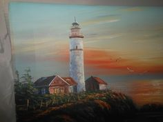 "High Quality Oil/Acrylic Painting on Stretched Canvas 12""x16"", Lighthouse #Realism"