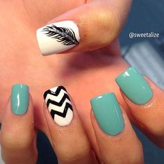 Feather, Blue, Black and White Nail Art Design