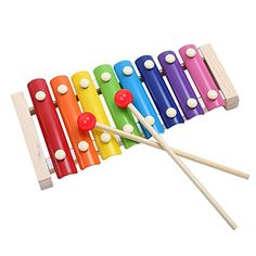 Haleppy Wooden 8 Key Notes Xylophone Toys Hand Knock Piano Music Instrument for 1 2 3 Years Old Kids and Up //Price: $10.99 & FREE Shipping //