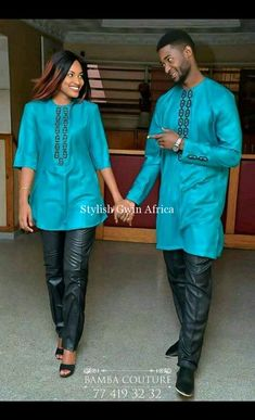 Description This magnificent African dress features a unique Embroidery making it perfect for any occasion you want to look your best. Material: COTTON PROCESSING: We usually take 10 BUSINESS DAYS to make the dress. SHIPPING: We use DHL shipping with t Couples African Outfits, African Clothing For Men, African Shirts, Couple Outfits, African Attire, African Wear, African Style, African Clothes, Latest African Fashion Dresses