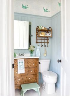 wallpaper above a high rail:  Style Inspiration: Wallpaper in the Bathroom