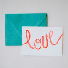 """L-O-V-E- Card Set - Charlotte Lane - Lovable cards in bright poppy red, featuring """"love"""", heart, arrow, and xoxo. Set of 8, $24."""