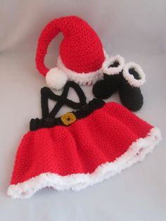 Santa Baby Girl's Handmade Crocheted 3 Piece Outfit/ Baby's First Christmas Set/Newborn Photography Prop/ Christmas Outfit/ Mrs. Claus Set by LightsCameraCrochet on Etsy