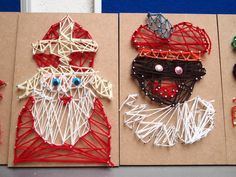 Gemaakt door een collega met kinderen van groep 6. De 'oude' borduurkaarten van Stam uitgeverij zijn hier voor gebruikt. Crafts For Kids, Arts And Crafts, Diy Crafts, String Wall Art, Saint Nicolas, Programming For Kids, Art Activities, Teaching Art, Art School