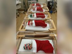 PHOTO: Newborn babies fit nicely into Christmas stockings and hats at the Magee-Womens Hospital at the University of Pittsburgh Medical Center.